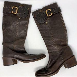 Chloe Paddington Tall Pebbled Leather Boots 37.5